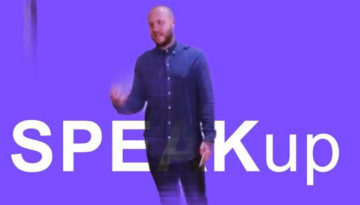 Purple Speak Up Challenge banner with Oly in a blue shirt
