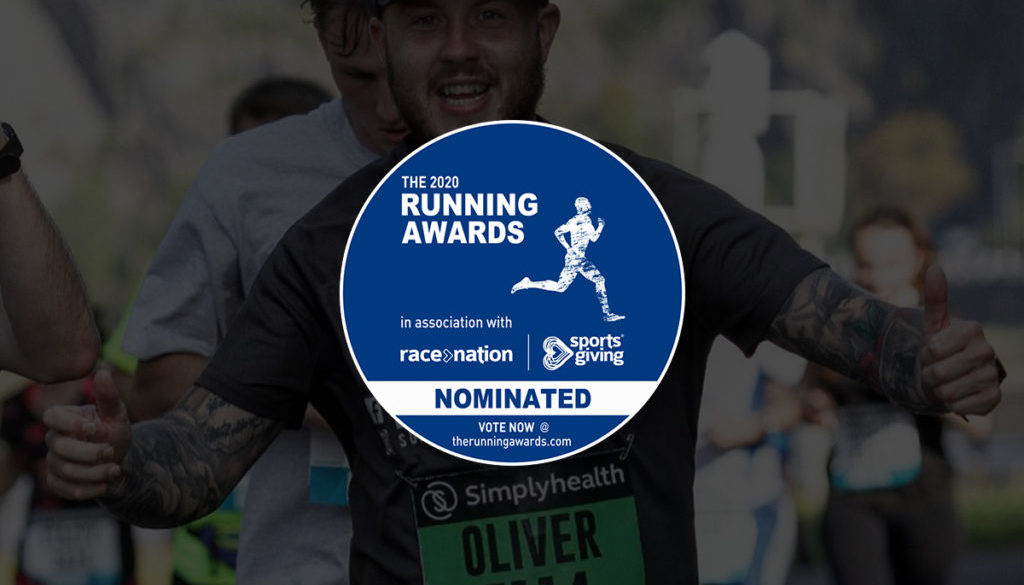 Picture of Oly at Bristol Half Marathon with 2020 Running Awards Logo
